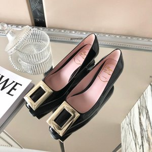 luxurydesigner 2020 New Women Heel Dress Shoes Bright designer leather wedding shoes high-heeled thick heel Leather fashion woman shoe