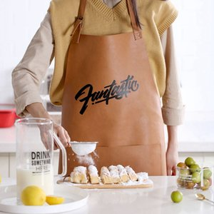 Leather Cooking Baking Aprons Waterproof Oil-Proof Kitchen Apron Restaurant Aprons For Women Home Sleeveless Apron