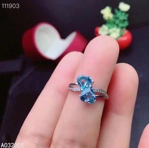 joyería fina KJJEAXCMY topacio azul de plata de ley 925 de la moda de las nuevas mujeres de pruebas de apoyo anillo de piedras preciosas naturales
