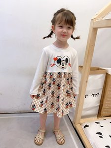 kids designer clothes 2020 Fall New Girls cartoon letter printed dress children long sleeve pleated dress V085