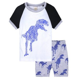 2020 Kids Fashion Pajamas Boys Girls Summer Casual Sleeping Wear Children Trend Animal Striped Printed Cartoon Two Pieces Pajamas Sets