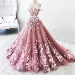 Princess 2019 Prom Dresses Long Off The Shoulder Appliques Long Lace Evening Gowns Quinceanera Vestidos Custom Made Bridal Guest Dress