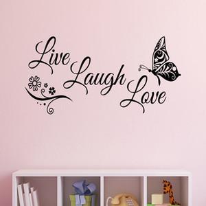 Leben Lachen-Liebe-Schmetterlings-Blumen-Wand-Kunst-Aufkleber Moderne Wandaufkleber Zitate Vinylwand-Aufkleber-Hauptdekor Wohnzimmer