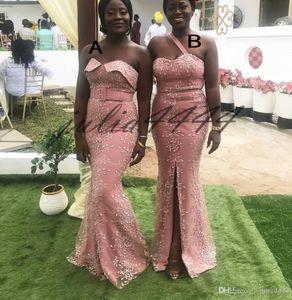 2019 Lace Barato Bridesmaids Vestidos de Alta Frente Dividir Longo Querida Vestido de Convidado Do Casamento Dama De Honra Vestidos