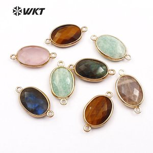 WT-C256 Smoothlyly Stone Stone Connector Oval Shape Gold Trim Bezel Connector For Women Fashion Jewelry Making Accessori