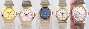 38mm unisex Orologi dell'orologio Blu Bianco Oro Automatico Cal.8500 delle signore delle donne Mens VS fabbrica Axial Chronometer Yellow Rose d'oro da polso