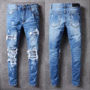 2020 dos homens do desenhista High Street Tide Marca Amiri AMIR Jeans Buracos patch Jeans Moto Calças Pés Magro Hot Europa e América # 513