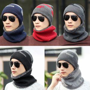 Acessórios de Moda Chapéus de Inverno Cachecol Para Mulheres Homens Grosso Cotton Inverno Set Feminino Masculino Beanie Scarf 2 Peças / Set