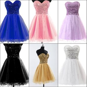 Short Ball Homecoming Dresses 2020 Gold Black Blue White Pink Sequins Sweetheart A Line Short Cocktail Party Prom Gowns 100% Real Image