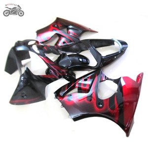 High quality Injection Fairings for Kawasaki ZX-6R 2000 2001 2002 ZX6R ZX636 00 01 02 red flames aftermarket fairing kits