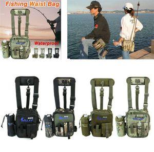 Pesca della tela impermeabile Tackle Borse Borsa di vita del pacchetto spalla Lure Rod bagagli