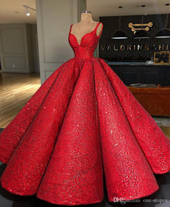 2020 Gliter Red lantejoulas vestido de baile Prom Dresses Sexy Spaghetti Open Back Vestido de Noite Plus Size Wear Quinceanera formal do partido