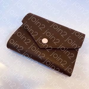 VICTORINE CÜZDAN High End Moda Bayan Kısa Cüzdan Para çanta Kredi Kartı Tutucu Nakit Kompakt Cüzdan Kahverengi Beyaz Su Geçirmez Tuval M41938