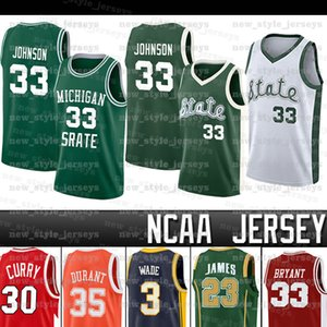 Michigan State Spartans NCAA Earvin 33 Johnson Curry Леброн Уэстбрук Stephen Dwyane Curry Wade Кевин Джеймс Дюрант Iverson college Basketba