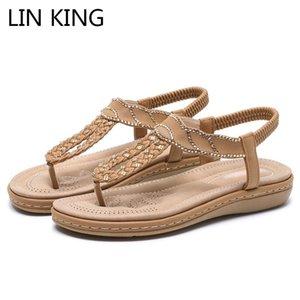 LIN KING 2020 мода горный хрусталь Богемия сандалии женщины квартиры Повседневная обувь большой размер удобные открытый пляж сандалии для женщин