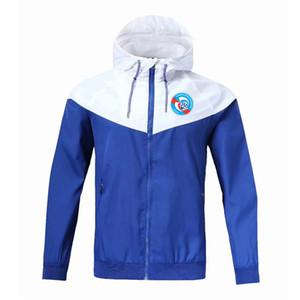 RC Strasbourg Windbreaker zip giacca, giacca RC Strasbourg con cappuccio da calcio Windbreaker Calcio Sportswear mano piena con cerniera giacche da uomo