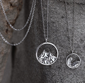 Vintage Style Silver Mountain забортной Пара Колье 925 Hollow Scenery Геометрия Ожерелье Мальчик и девочка Friend Подарки