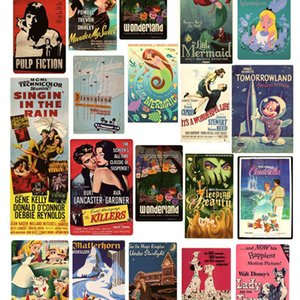 46pcs-Pack Poster Movie Vintage Retro Famous Film Poster Stickers Skateboard Laptop Notebook Luggage Travel Book Vinyl Decals