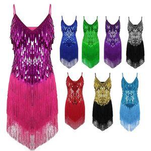 Desempenho Mulheres Dança Roupas Salsa Cintas Vestido Com Decote Em V Traje Conjunto de Salão Lantejoulas Franjas Meninas Latin Vestidos