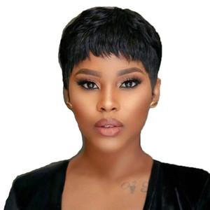 Foreign trade wig European and American fashion short hair female African black short hair chemical fiber mechanism hood spot