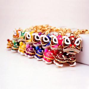 Mode cadeaux créatifs exquis lion danse lion feng shui kylin porte-clés sac boucle voiture pendentif style chinois