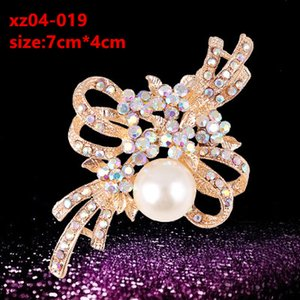 Ladies Diamond Flower Brooch Corsage European and American fashion retro Fashion Hit Full Pearl Swan Water Female Accessories
