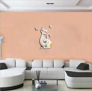 3D wall paste green children bedroom wall paste silver mirror butterfly cat Acrylic wall decoration