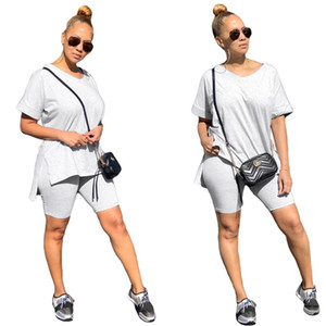 Women Tracksuit Fashion Solid Color V-neck Short Sleeves T Shirt Shorts Two Piece Set Outfits Casual Sports Suit CZ630