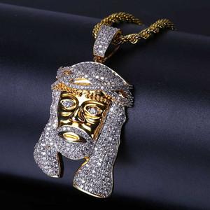 18 كيلو مطلية بالذهب قلادة القلائد والمجوهرات الفاخرة المتأنق بلينغ الزركون يسوع المسيح صورة الهيب هوب الرجال النساء القلائد بالجملة LN072
