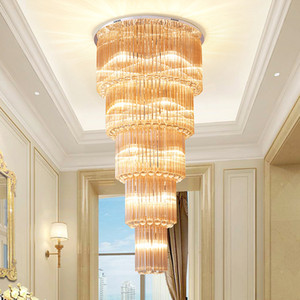 Newest design modern crystal ceiling chandelier lamp long crystal chandeliers lighting led ceiling lights fixtures for villa hotel stairs