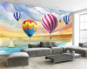 Custom 3d Landscape Wallpaper Colorful Ink Sea Hot Air Balloon Romantic Scenery Decorative Silk Mural Wallpaper