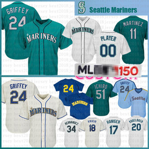 24 Ken Griffey Jr. 22 Robinson Cano 51 Ichiro Suzuki Baseball Jersey Seattle base de fresco Majestic Jerseys