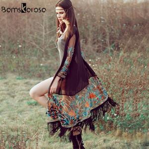 Bamskarosa Bohemian Style 2019 Summer Kimono Cardigan Moda casual Boho Hippie Ricamo Nappa Camicie da donna Top da donna Y190823