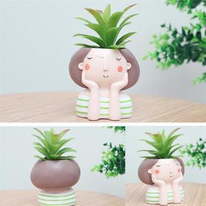4adet Karikatür Güzel Kız Sulu Pot Sevimli Saksı Bonsai Cactus Saksı Çiçekleri Masaüstü Dekorasyon CJ191226