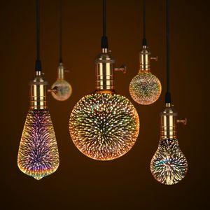Ночной свет 3D лампа Фейерверк Эффект 3D LED Лампа E27 Новинка AC85V-265V Старинные Украшения Праздник Рождественский свет Для Дома Бар