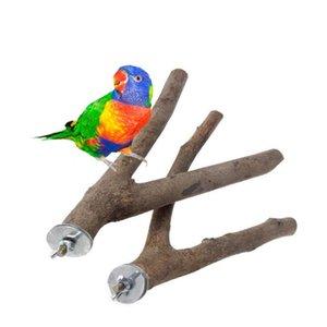 Las PC 1 del árbol del loro de madera Tenedor Station Bar hámster rama de árbol dos puntos Tenedor del dragón del gato del pájaro del juguete ardilla roe Accesorios de los juguetes