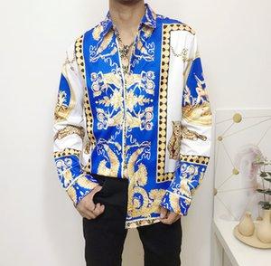 2020 European size Medusa Shirts New Men's Dress Shirts Fashion Harajuku Casual Shirt Men Medusa Black Gold Fancy 3D Print Slim Fit Shirts11