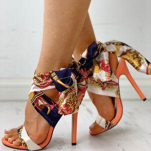 Lucyever mujeres sandalias florales moda tacones altos Peep Toe sandalias Sexy tacón de aguja Chaussures Femme verano bombas Mujer