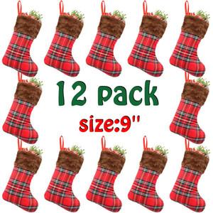 Moda Kırmızı Ekose Noel Stocking Noel Noel Kolye Dekorasyon Çocuklar Hediye Çanta Şeker Çanta Stocking Yeni Yıl Prop Çorap DBC VT0759