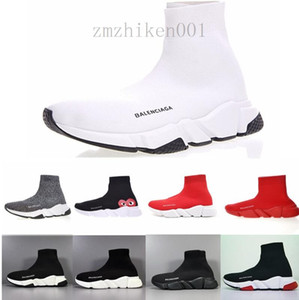 Cheap Women Mens Sock Speed Trainer Shoes Sneakers Knitting Slip-on High Quality Casual Walking Shoe Comfort All Black Chaussures ND692