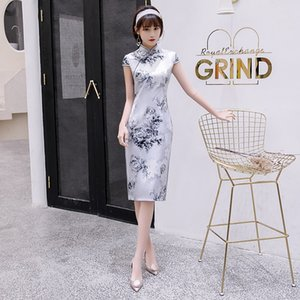 2020 Sommerkleid slim fit chinesische populäre Seidenstoff cheogsam zeigen Sie Ihren Körper Charme traditionelle Elemente