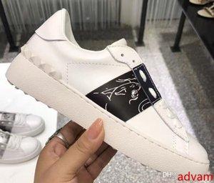 мужчины женщины мода роскошные дизайнерские туфли белая кожа открытые кроссовки с синей полосой NY0S0830 BLU G62 кроссовки Кроссовки обувь с