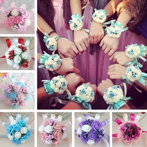 Vente en gros mariée poignet fleur corsage demoiselle d'honneur soeurs main fleurs mariage de bal Artificielle fleurs de soie Bracelet JM0178