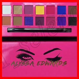 Augen Make-up Alyssa Edwards Rose Rote-Augen-Schatten-Palette 14 Farben Matte Pressed Lidschatten-Palette mit Make-up Pinsel von epacket