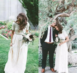 Cheap Boho Full Lace Wedding Dress A Line Short Sleeves Country Garden Formal Bride Bridal Gown Custom Made Plus Size