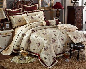 Europe Noble Jacquard Satin Duvet Cover Set King Queen Size 4/6pcs Sanded Bed Set Bedsheet Silk/Cotton Bedding Sets