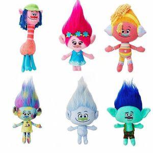 New Kids Novelty 6 unids / lote 23-30 cm Películas de dibujos animados de la muñeca de la felpa Poppy Branch Trolls juguete de peluche para bebé mejores regalos