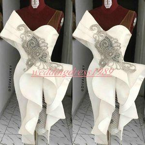 Новый атласные вечерние платья с бисером рябить оболочки Короткого Пром платье без рукавов Arabic Плюс Размер Robe De Soiree Guest Wear