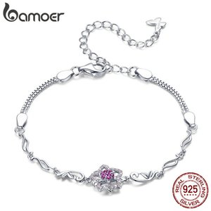 Bamoer Authentic 925 Sterling Silver Blooming Peach Love Flower Lobster Bracelets For Women Sterling Silver Jewelry Gift Bsb005 Y19062901