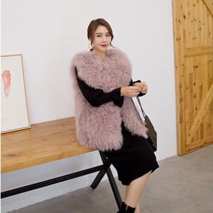 Las mujeres otoño invierno primavera chaleco mongol ovejas piel real corto de lana de playa medio chaleco de piel toda velocidad corderos chaqueta femenina